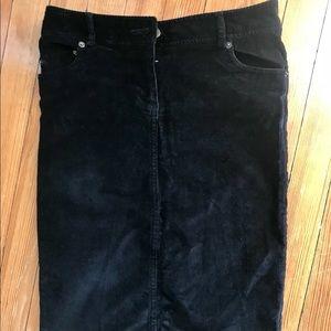 ZARA corduroy pencil skirt, black
